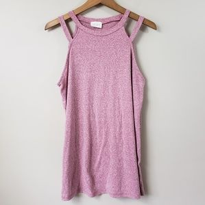 NWOT 143 Story Heathered Pink Double Strap Tank